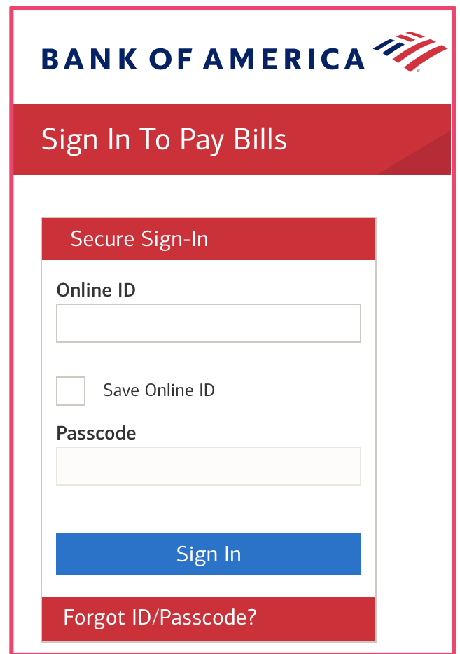 Sign in to pay bills pages bank of America