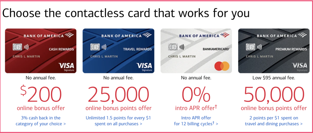 Bank of America cards