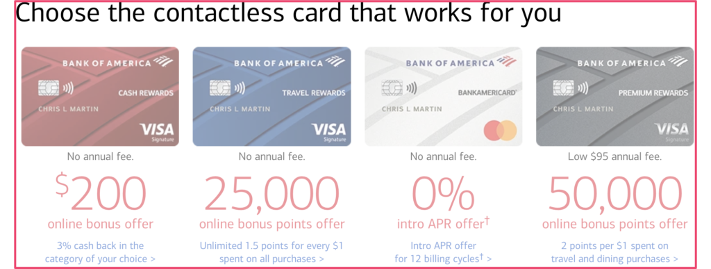 Bank of America credit cards